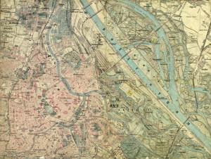 1875 map Aufnahmeblatt Wien Innenstadt lo